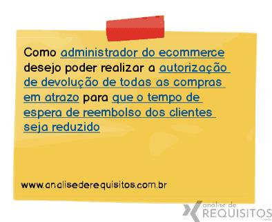 Exemplo de uma user story contando sobre a necessidade de um administrador